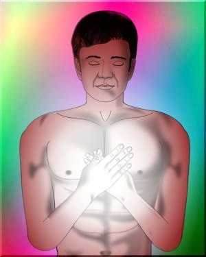 EFT Heart Healing Posture diagram for EFT Heart & Soul Protocol by Silvia Hartmann